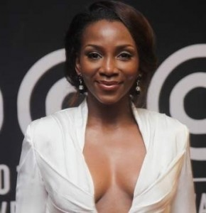 Nollywood Super Actress Genevieve Nnaji at AMVCA wearing a revealing low cut designed by Amos Tafiri
