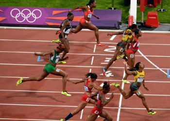 Women's 100m final race at London's Olympic Stadium, August 4, 2012