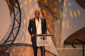 Massai Ujiri, Toronto Raptors President & GM, giving his Keynote address at CAMSC 10th anniversary gala event