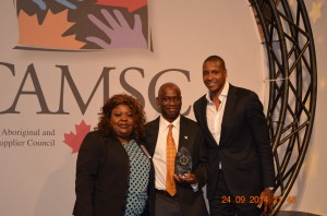 Umoafia, wife Stella and Keynote Speaker, Nigerian native Massai Ujiri, President & General Manager of NBA's Toronto Raptors
